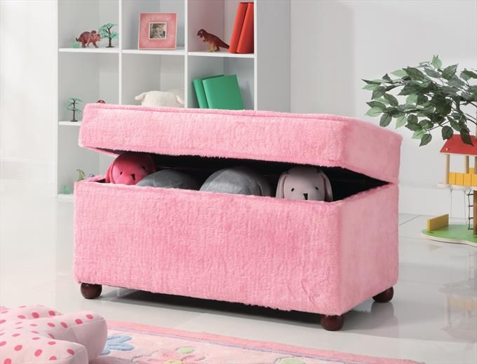 upholstered storage bench in pink youth roomskids - Kids Room Storage Bench