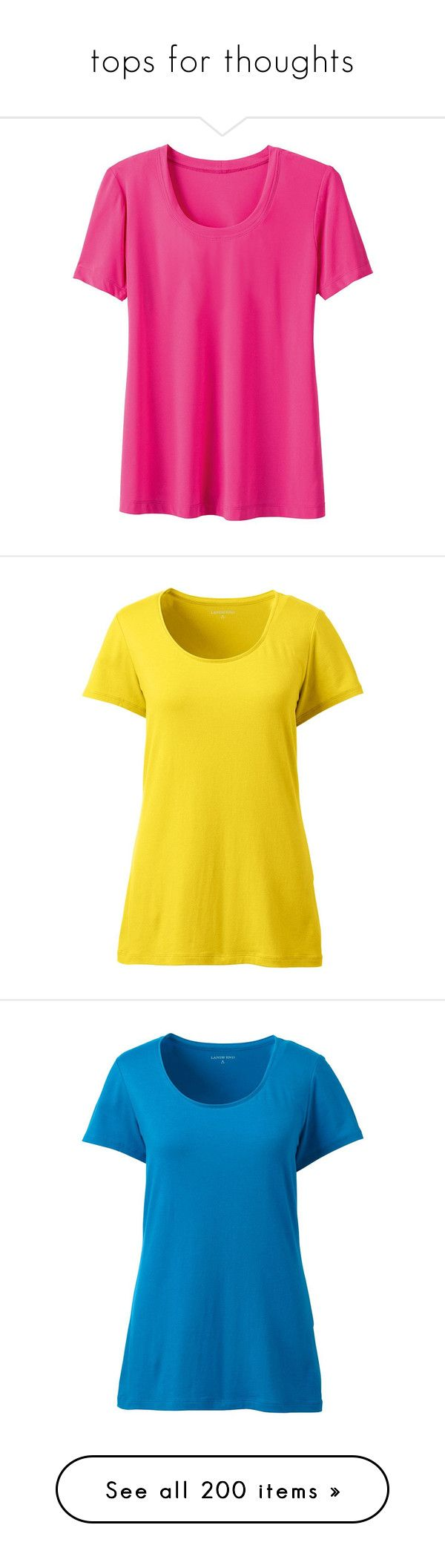 """tops for thoughts"" by tinkertot ❤ liked on Polyvore featuring tops, t-shirts, shirts, fuchsia rose, tee-shirt, scoop neck t shirt, women's plus size shirts, plus size short sleeve shirts, scoop neck tee and yellow"