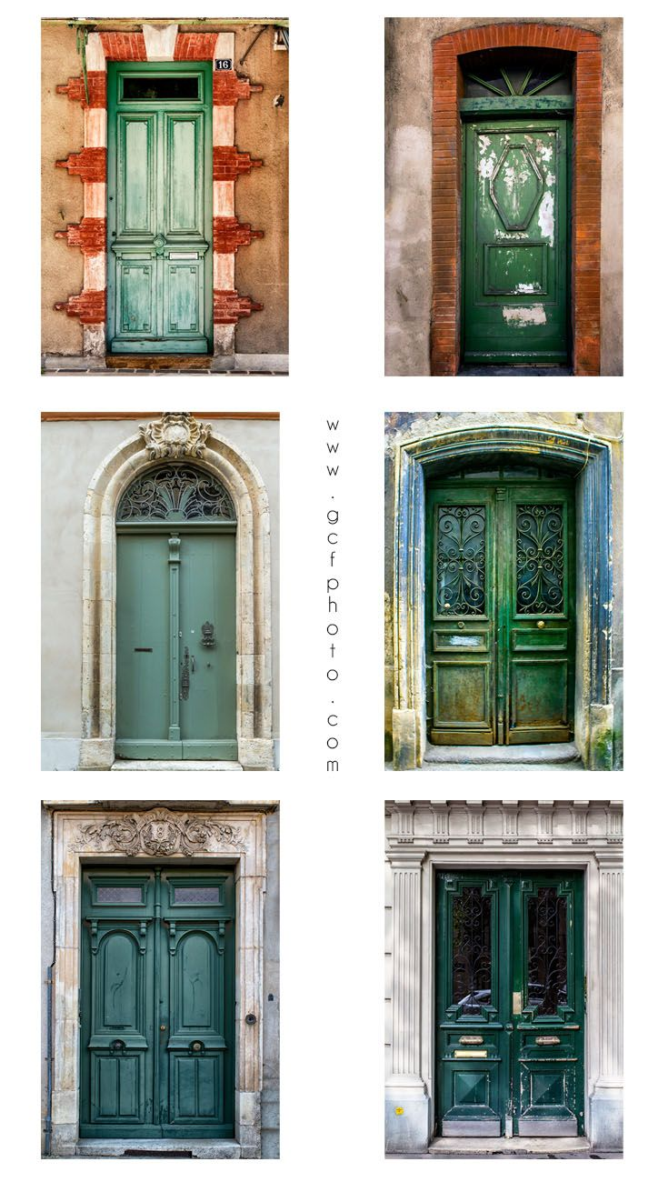 Shades of Green! French windows and doors art photos for wall decoration in your home. Set of 6 prints from $67. Click now to see details.  #greenwallart #greendoors #frenchdoors  #livingroomwalldecorideasrustic