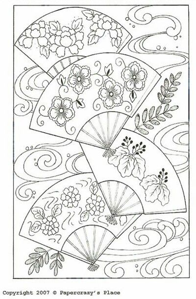 Pattern fans coloring page