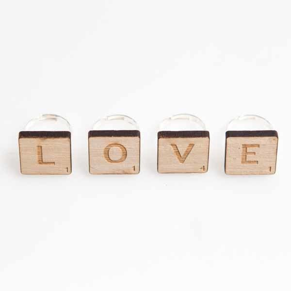 Scrabble rings by Genevieve Motley for sale on http://hellopretty.co.za