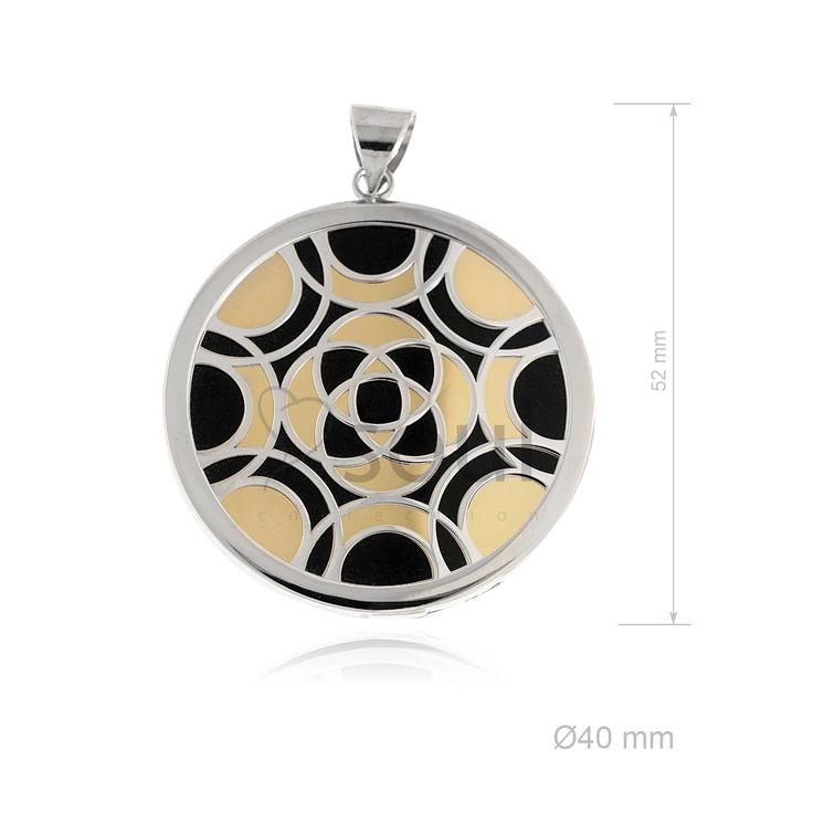REF. 361020. Colgante Mandala. Colgante con nácar u ónix en plata de Ley.