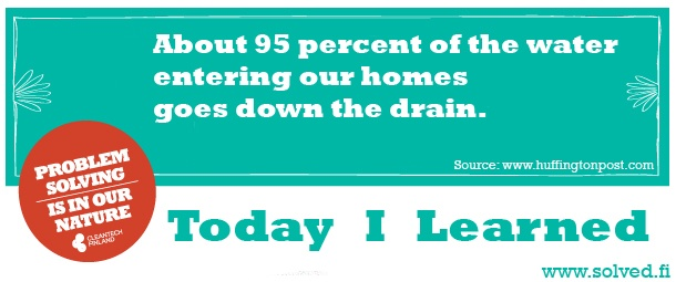 About 95 percent of the water entering our homes goes down the drain.