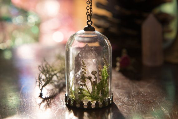 Amethyst Terrarium Necklace Real Green Moss by LomharaJewellery