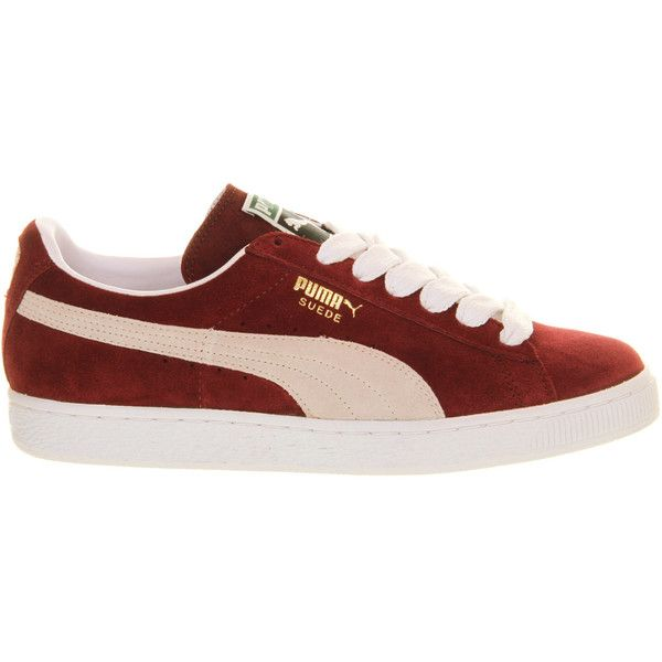 Puma Suede Classic ($72) ❤ liked on Polyvore featuring shoes, sneakers, team burgundy white, low profile shoes, white suede shoes, puma trainers, low top and white low top sneakers