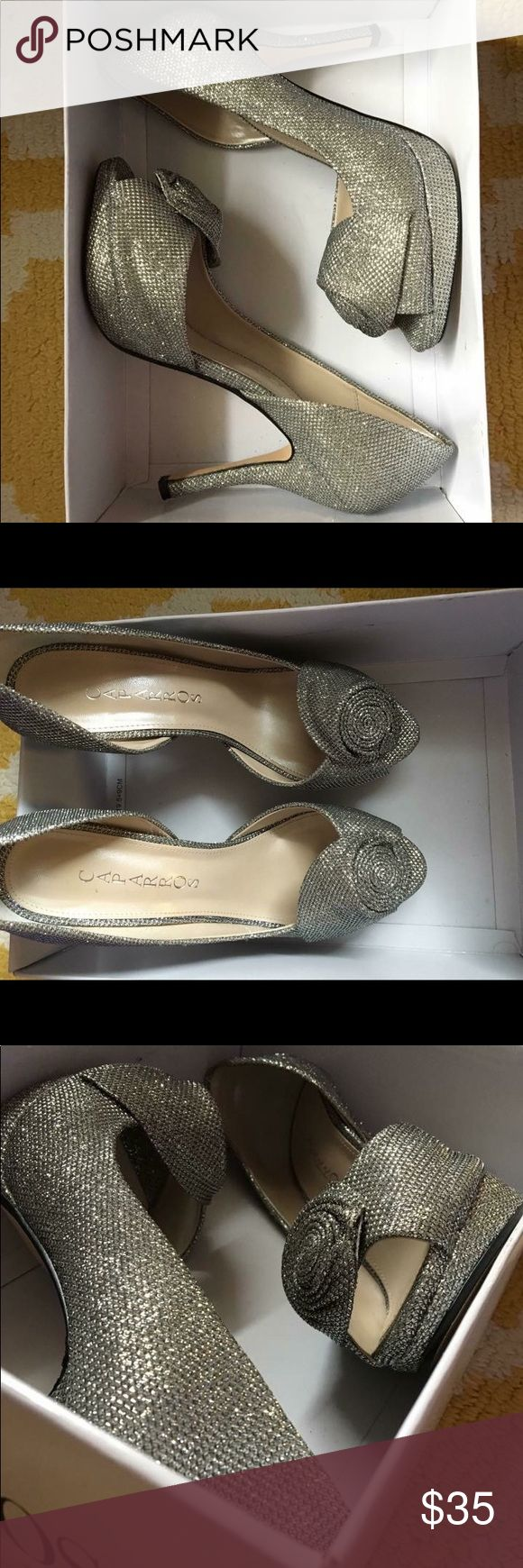 Sparkly Heels (NWT) Open toed sparkly heels with a rose formation. Never worn. 3-3.5 inch heel Caparros Shoes Heels