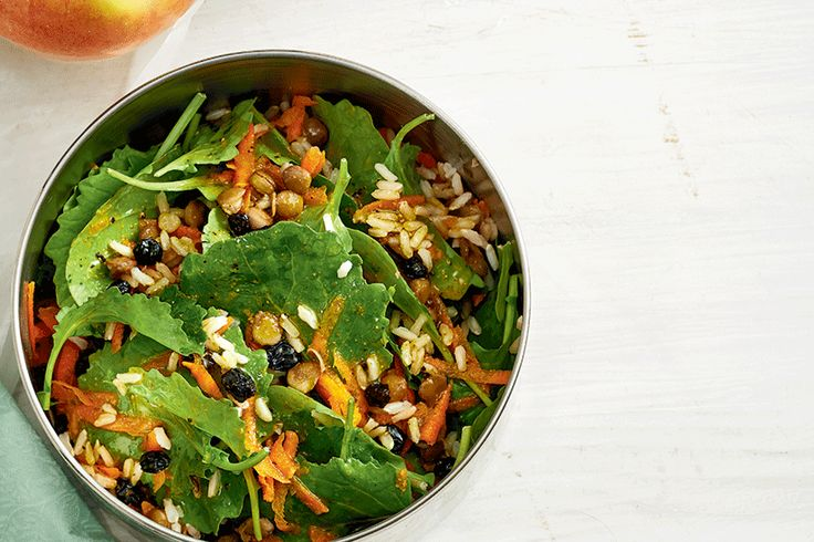 Brown Rice and Baby Kale Salad with Curry Dressing