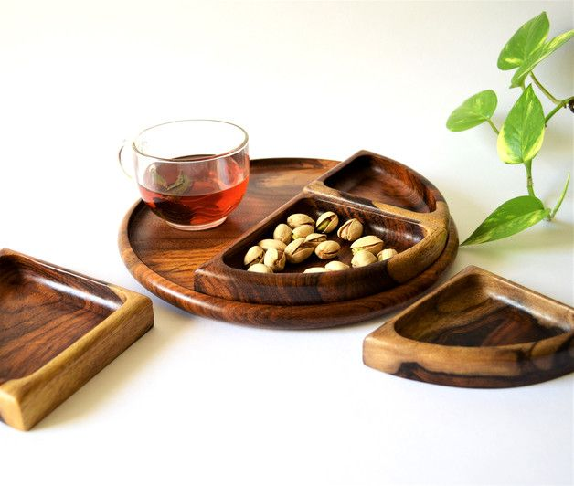 Jewellery Trays – Wooden snack plate, nut tray, hand-carved bowl – a unique product by Omar-Handmade on DaWanda