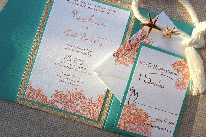 Blue And Coral Wedding Invitations: Tiffany Blue And Orange Wedding
