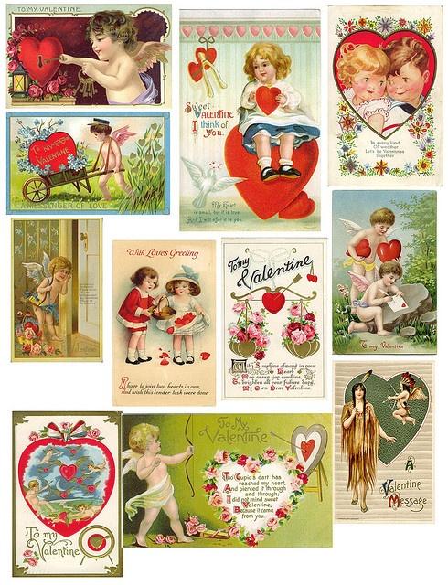 ValentinesValentine'S Day, Vintage Valentines, Collage Sheet, Valentine Printables, Valentine Cards, Collage Vintage, Free Printables, Clips Art, Vintage Style
