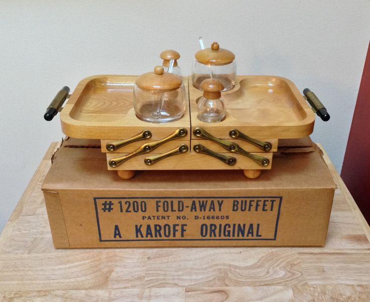 Mid Century Karoff Fold-Away Wood Buffet Tray with 2 Glass ...