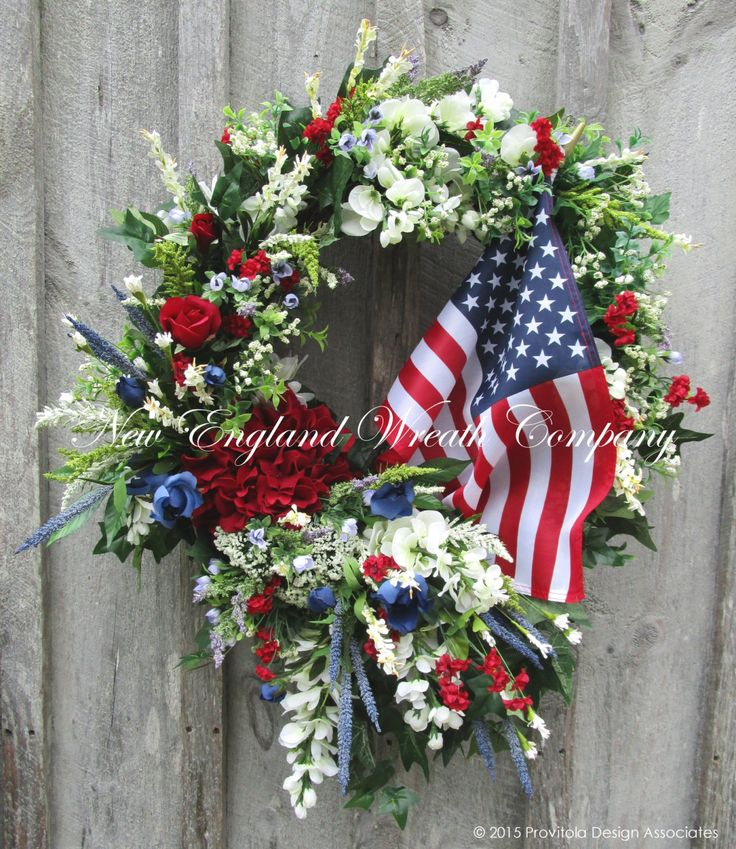 Summer Victorian Garden American Flag Wreath A New