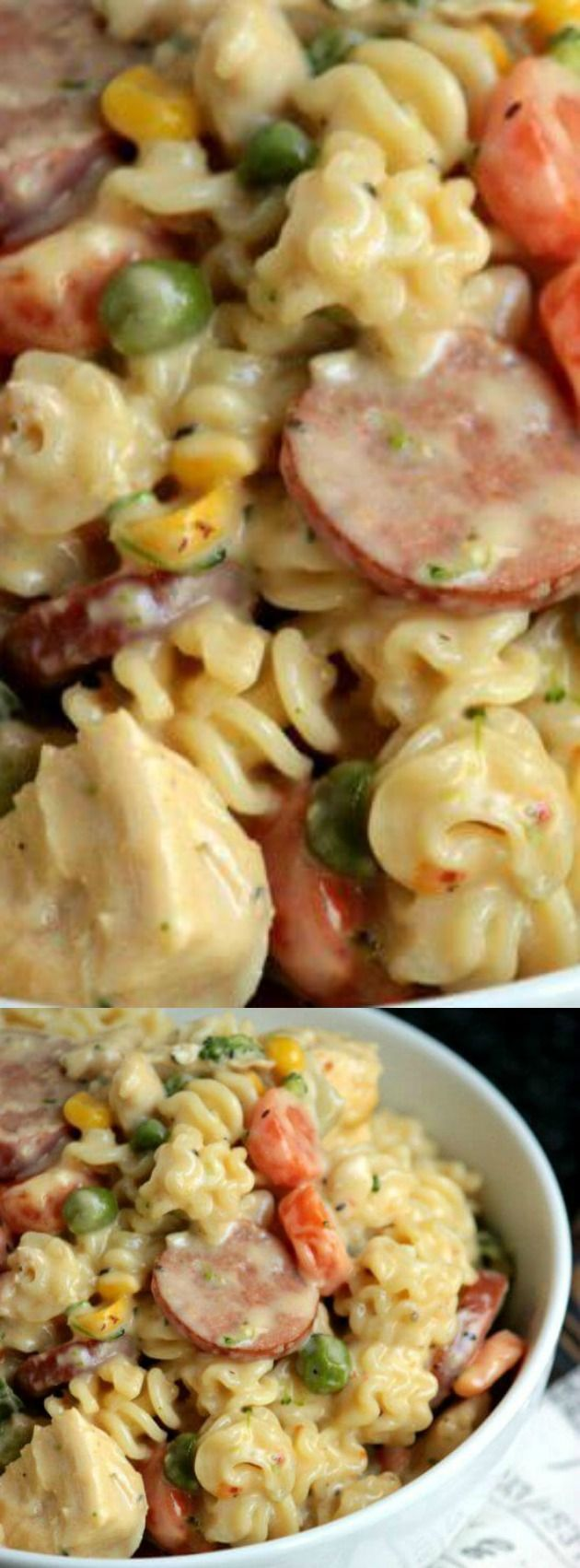 This Cheesy Chicken and Sausage Pasta from Big Bears Wife is filled with pasta, chicken, sausage, and a few of your favorite vegetables. It's a kid friendly recipe that your whole family will enjoy for dinner.