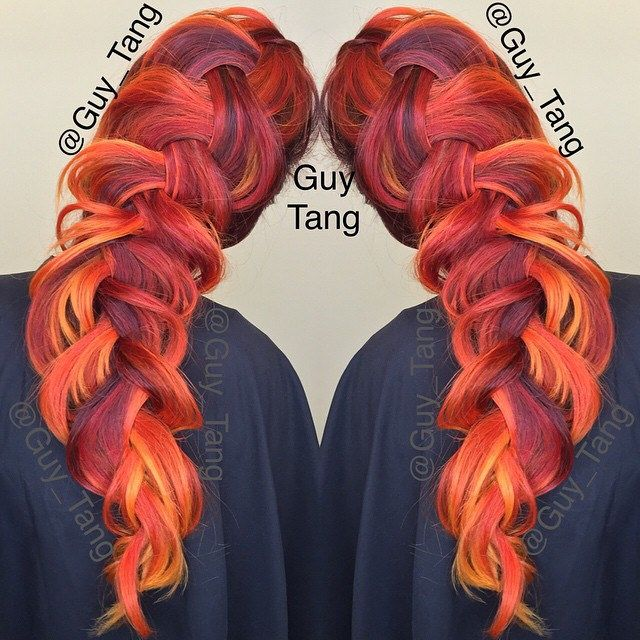 gorgeous hair by guy tang using kenra color creatives red orange and yellow. love this loose braid