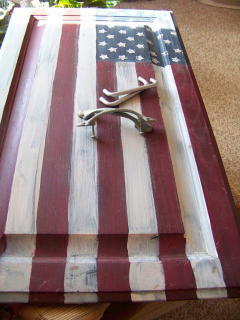Turn a recycled cabinet door into a American Flag serving tray..... SO COOL!
