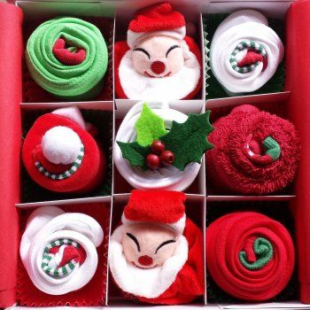 Christmas Baby Clothing Cupcake Gift Set delivered in a beautiful keepsake box. Ideal for baby's 1st Christmas