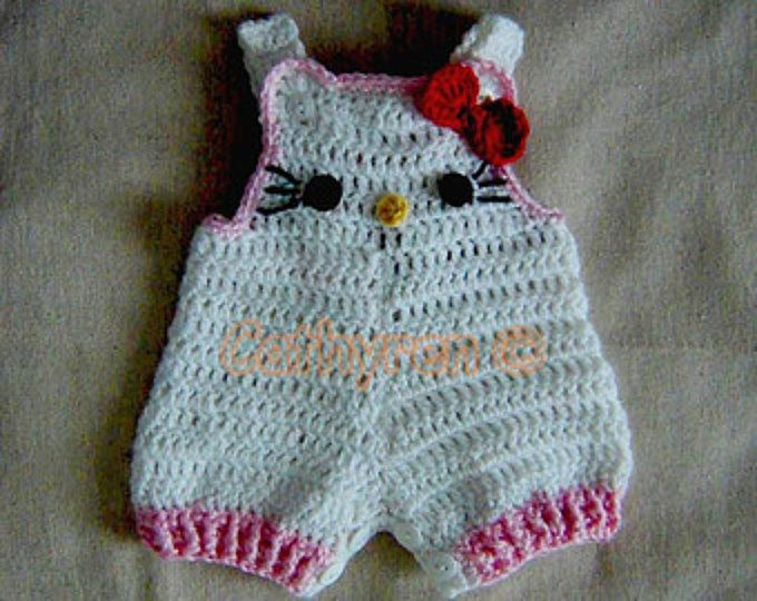 Baby Girl Kitty Shortall, Dungaree, Overall, Romper, Buttons at Legs for Easy Change -INSTANT DOWNLOAD Crochet Pattern