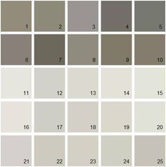 Benjamin Moore Gray House Paint Colors - Palette 061.  11. A La Mode 2109-70 12. Barren Plain 2111-60 13. Light Pewter 1464	14. Classic Gray 1548 15. Silver Satin 856 16. White Winged Dove 1457 17. Nimbus 1465 18. Abalone 2108-60 19. Balboa Mist 1549 20. Sheep'S Wool 857 21. Angelica AF-665 22. Apparition 860 23. Collingwood 859 24. Rodeo 1534 25. Cumulus Cloud 1550