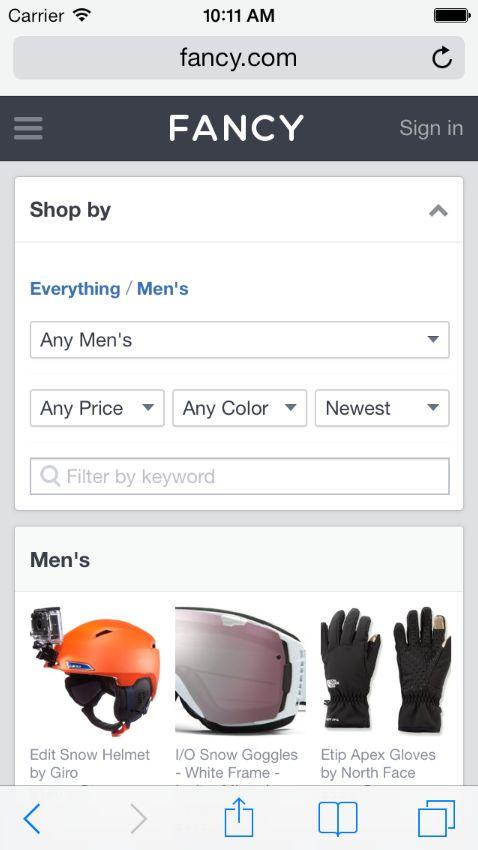 Fancy - 某個商品分類頁面的最頂端 - 篩選
