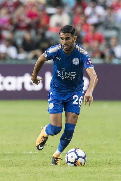 Leicester City FC midfielder Riyad Mahrez  (R) in action  during the Premier League Asia Trophy match between Leicester City FC and West Bromwich Albion at Hong Kong Stadium on July 19, 2017 in Hong Kong, Hong Kong.