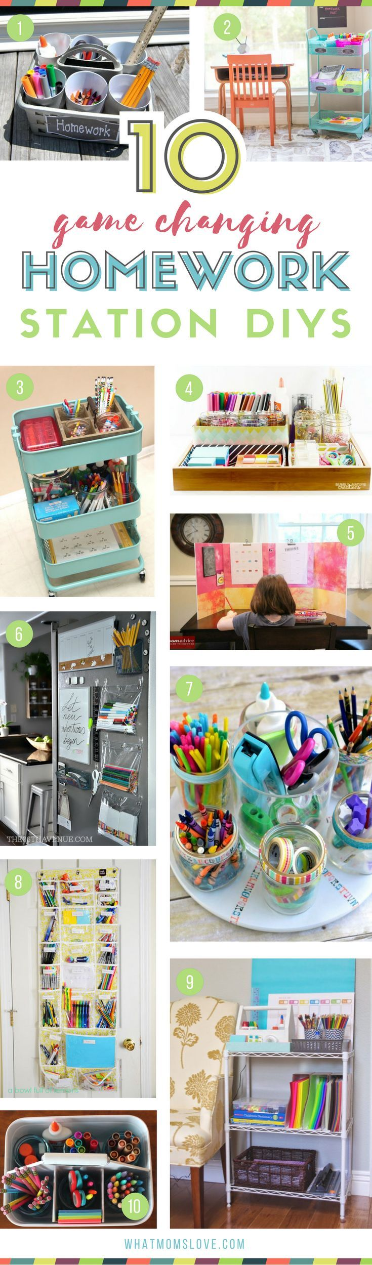 DIY Homework Station Ideas for Kids | Organization tips and ideas to make a portable study space at home