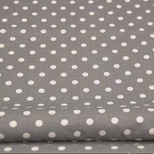 Tkanina bawełna szara w duże kropki - Tkaninowo - Materiał w groszki