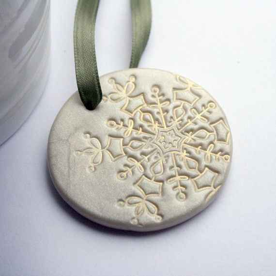 "Polymer Clay Ornament... could spray paint a shimmery color, and then add ""staining"" effect to make it look vintage! :)"