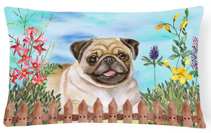 Fawn Pug Spring Canvas Fabric Decorative Pillow CK1280PW1216
