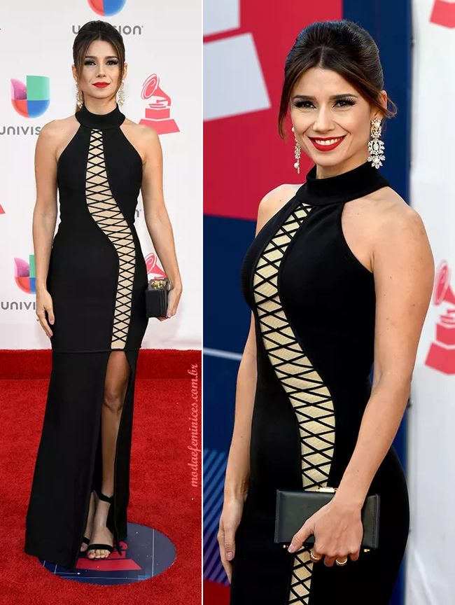 Vestido preto da Paula Fernandes no Grammy Latino 2016 | http://modaefeminices.com.br/2016/11/18/vestido-preto-da-paula-fernandes-no-grammy-latino-2016/