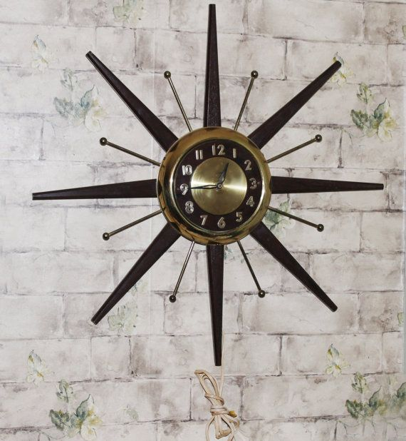 Large 24 Starburst Electric Clock Mid Century by TouchofClassic