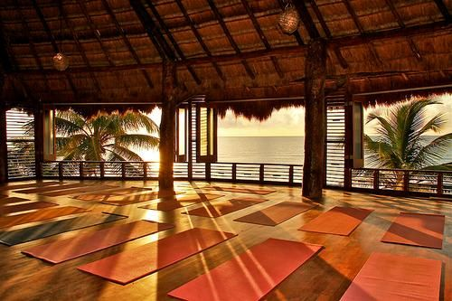beachfront yoga studio at the Amansala Chica resort! Aww looks amazing, wish i could go there!