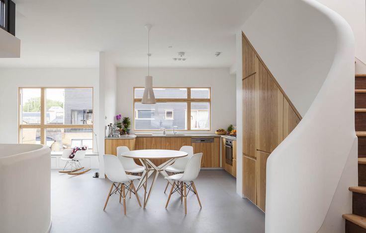 Gransden Avenue bespoke kitchen cupboards under stairs, real wood veneer
