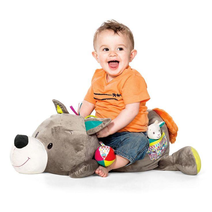 Peluche d'activités géante Léon le loup Minimi pour enfant de 3 mois à 3 ans - Oxybul éveil et jeux