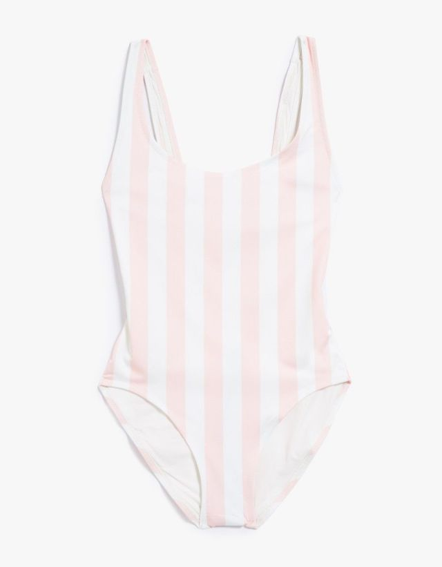 Cotton candy stripes for summer will feel especially sweet when you're catching rays at the beach. Solid and Striped 'Anne Marie' Swimsuit, $168; needsupply.com.