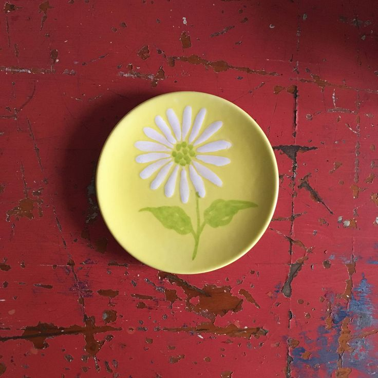 Ernestine Salerno Plate Daisy Plate Yellow Bread and Butter Plate Ernestine Italy Side Plate MCM Mid Century Design Art Pottery by ScavengerAesthetic on Etsy