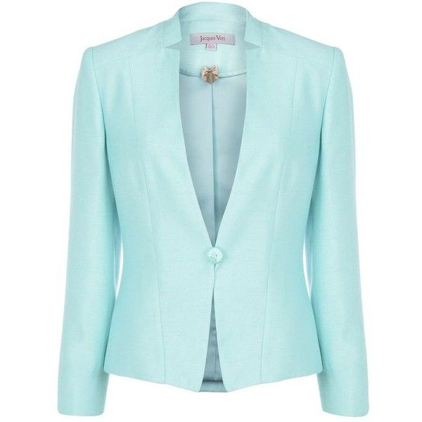 Mint Occasion Jacket ($93) ❤ liked on Polyvore featuring outerwear, jackets, blazer, tops, women's outerwear, jacques vert, mint blazer, mint jacket, blue blazer and blazer jacket