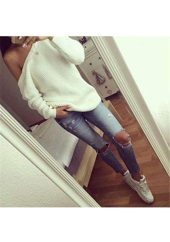 Weiße Schulterfreie Casual Oversize Pullover Sweater Oberteile Sexy Damen Mode