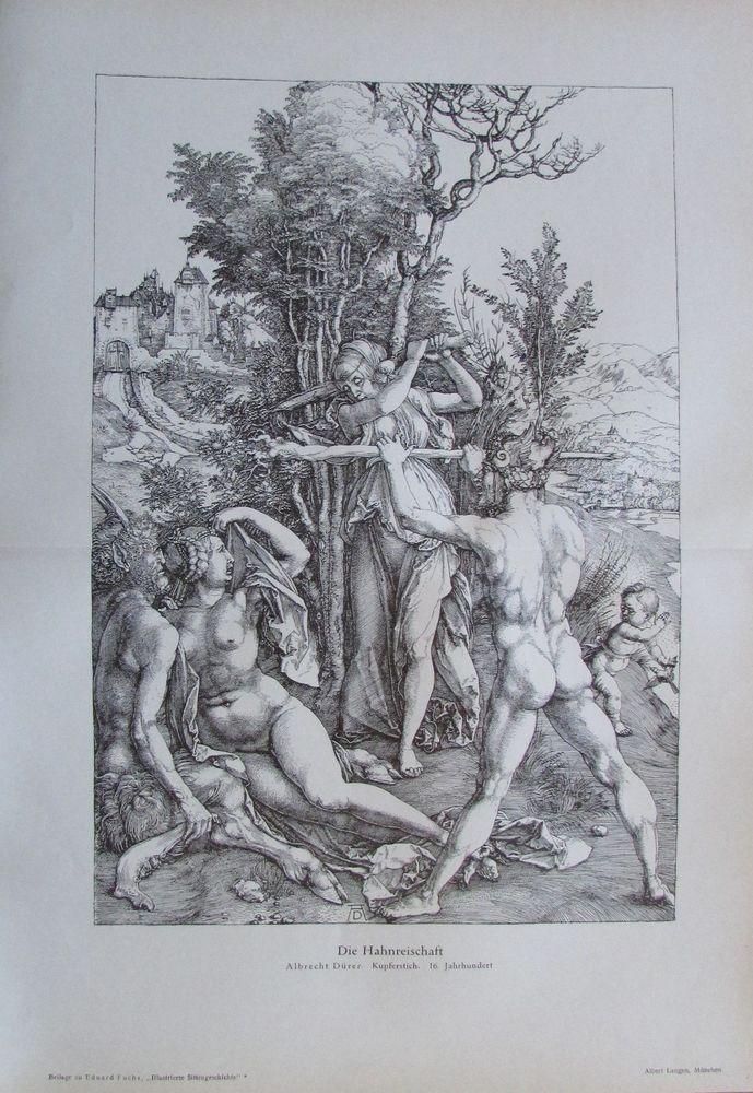 Albrecht Dürer DIE HAHNREISCHAFT um 1910 antiker Druck