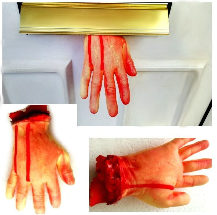 9   Severed Bloody Hand Life Size Spooky Halloween Fancy Dress Party Decoration