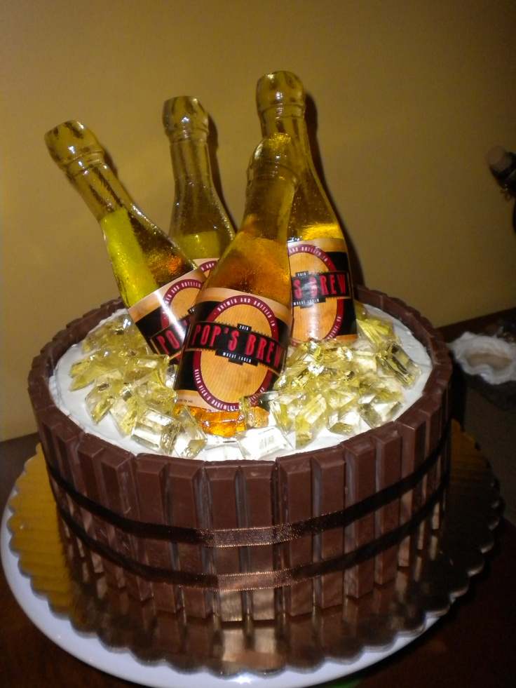 Beer Barrel Cake With Poured Sugar Bottles And Ice