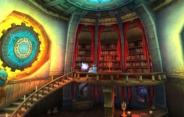 Wallpaper fantasy, art, elf, magic, portals, library ...