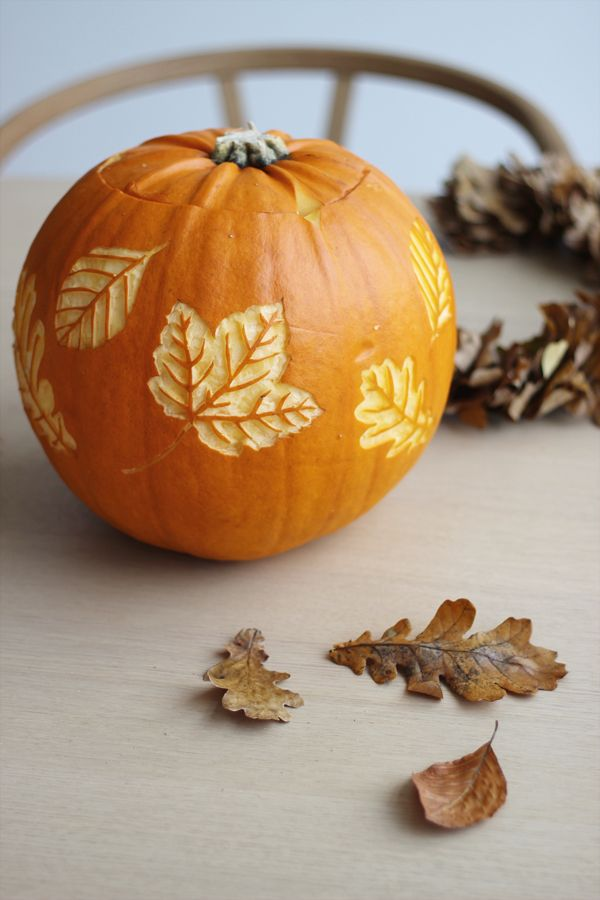 Halloween Pumpkin with Autumn Leaves, via Scandinavian Love Song