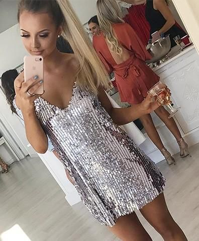 Silver Cami Strap Sequin Sparkle Mini Dress
