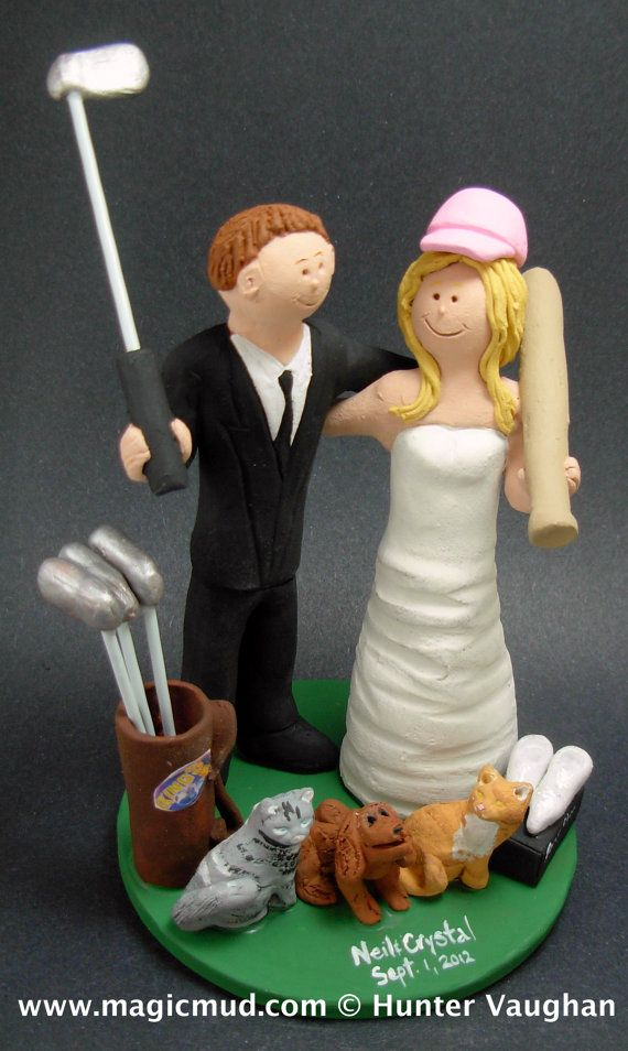 Golfing Bride Wedding Cake Topper    Golfing Wedding Cake Topper custom created for you! Perfect for marriage of a Golfing Bride and Groom!    $235   #magicmud   1 800 231 9814   www.magicmud.com