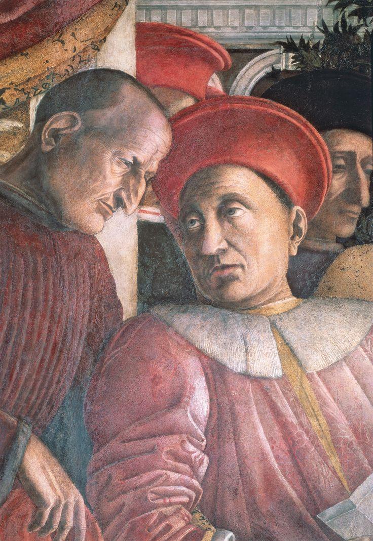 """Andrea Mantegna Camera degli Sposi (Camera Picta), 1465-1474 Parete settentrionale o della """"Corte"""", particolare con il marchese Ludovico III Gonzaga e il segretario Marsilio Andreasi Mantova, Palazzo Ducale, Castello di San Giorgio"""