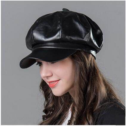 Handsome pu newsboy cap for women plain black hat spring wear