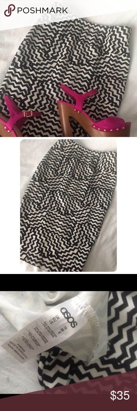 ASOS Skirt Really cute form fitting skirt. Black and white Aztec design. Made of 95% polyester and 5% elastane. Has a little stretch. The black lines have a velvet type of feel. Worn once and in great condition. Please feel free to ask questions. Bundle with other items to receive 15% discount! ASOS Skirts Midi