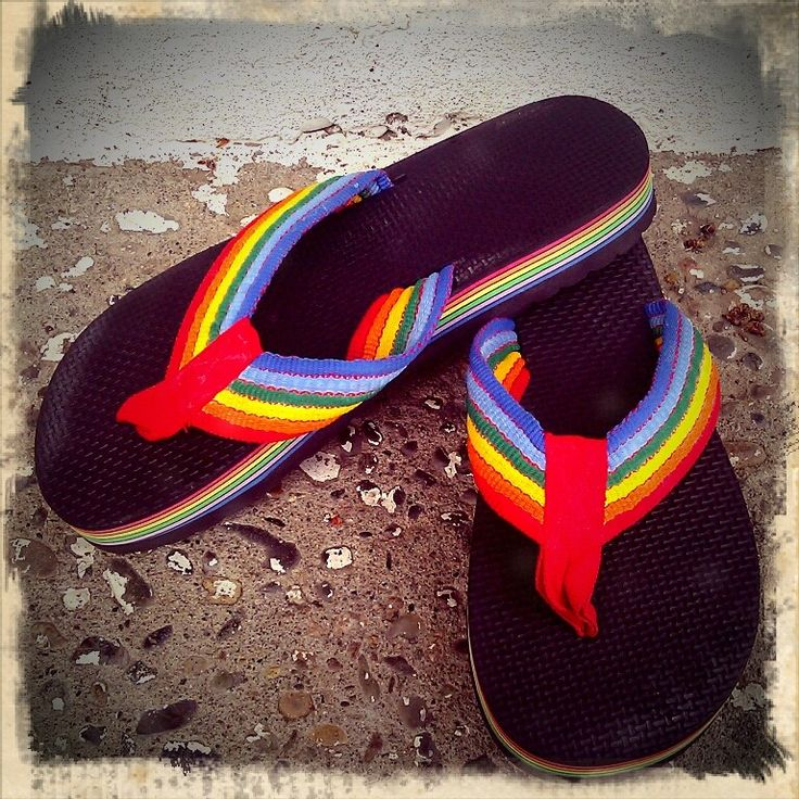 "Rainbow thongs... In the 1980's they were thongs and not flip flops - ""flip flop"" was the sound they made."