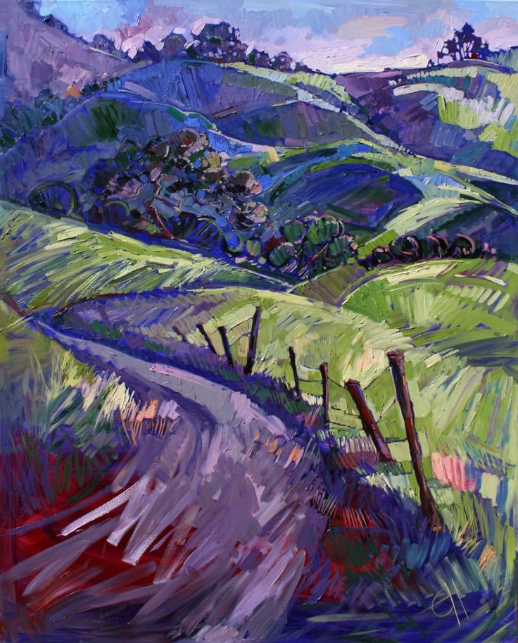 Wine Country Oil Painting by Erin Hanson