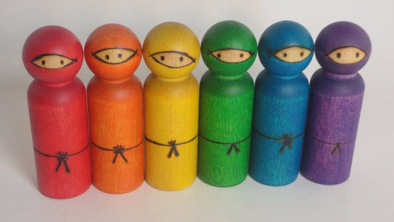 Wood toy Set of 6 rainbow ninjas - large size 3 and 1/2 inches tall - extra details - all natural toy on Etsy, $33.00